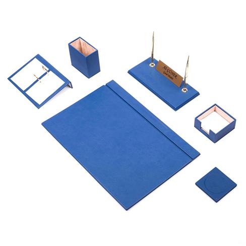 Güner Ofis Deri Sümen Takımı Mavi 8 Parça