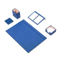 Güner Ofis Deri Sümen Takımı Mavi 5 Parça