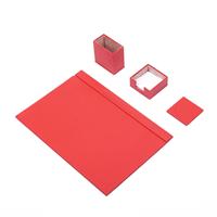 Güner Ofis Deri Sümen Takımı Kırmızı 4 Parça