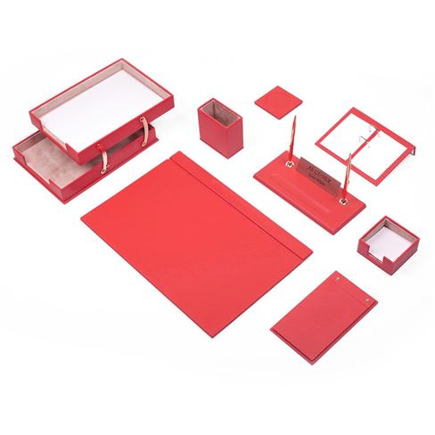 Güner Ofis Deri Sümen Takımı Kırmızı 10 Parça İkili Evrak Raflı