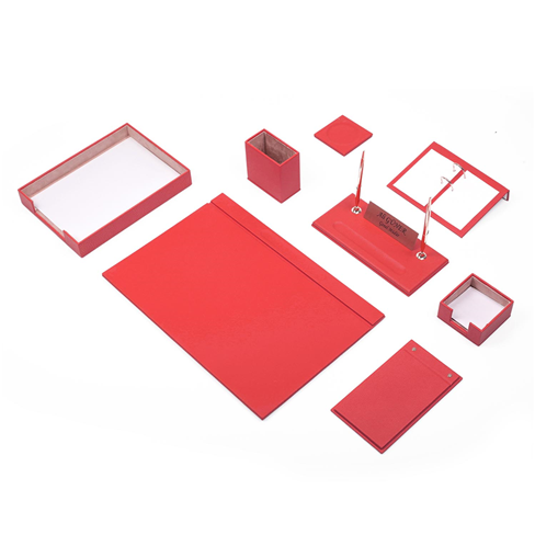 Güner Ofis Deri Sümen Takımı Kırmızı 10 Parça