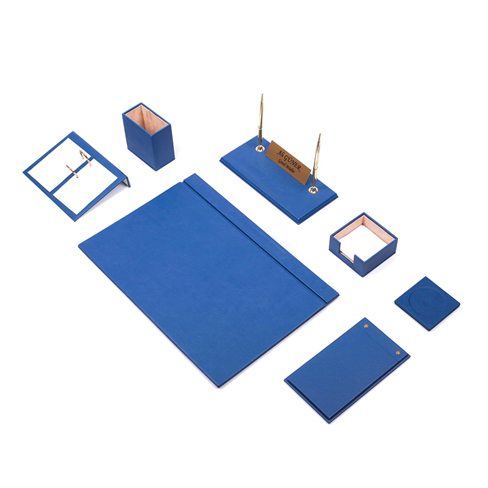 Güner Ofis Deri Sümen Takımı Mavi 9 Parça
