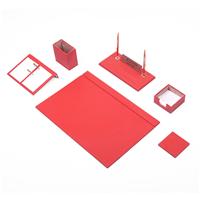 Güner Ofis Deri Sümen Takımı Kırmızı 8 Parça