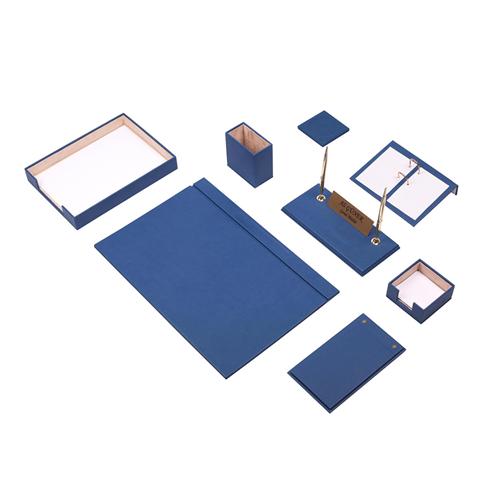 Güner Ofis Deri Sümen Takımı Mavi 10 Parça