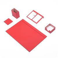 Güner Ofis Deri Sümen Takımı Kırmızı 5 Parça