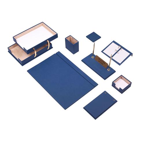 Güner Ofis Deri Sümen Takımı Mavi 10 Parça İkili Evrak Raflı