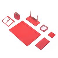 Güner Ofis Deri Sümen Takımı Kırmızı 9 Parça