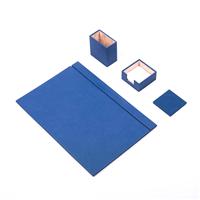 Güner Ofis Deri Sümen Takımı Mavi 4 Parça